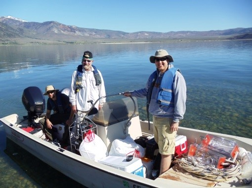 Dr. Hollibaugh and Microbiology graduate student (Ph.D. in 2016) Christian Edwardson preparing to sample Mono Lake, CA